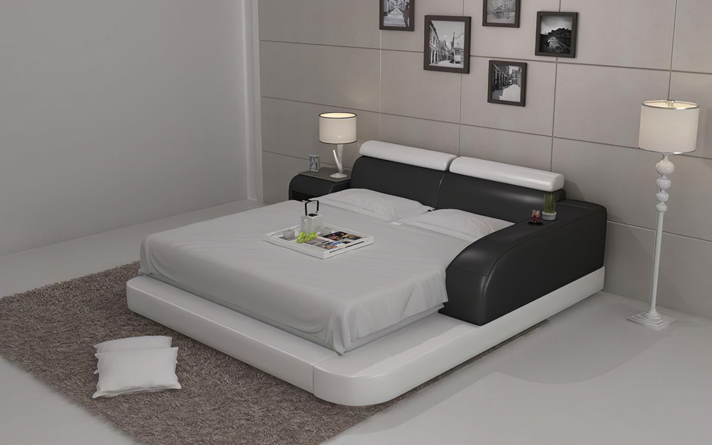 Picture of: Modern Leather King Queen Size Bed With Storage Jubilee Furniture Stores Las Vegas