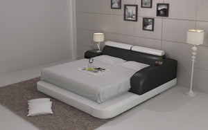 Abilene Modern Leather King/Queen Size Bed With Storage