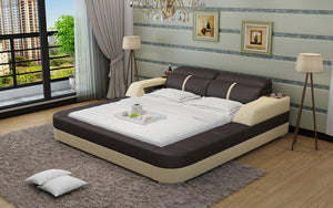 Denya Modern Leather Bed With Storage