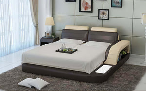 Nathanson Leather Bed With Storage