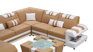Neptune Modern Leather Sectional with LED Light