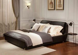 Cabinda Black Leather Bed
