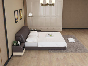 [Daily Deal] Queen Size - Casun Light Grey & Dark Grey Leather Bed with Right Facing Storage (Available)