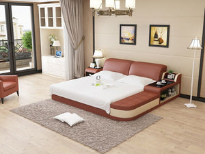 Brown and Beige Bed