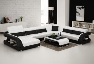 White And Black Leather Sectional
