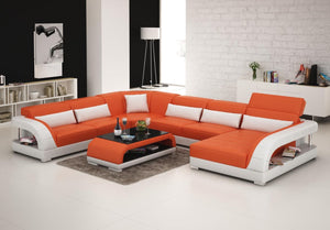 Orange And White Leather Sectional
