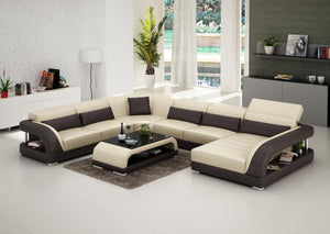 Beige And Brown Leather Sectional