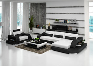 Nebula Mini Modern Leather Sectional with Chaise