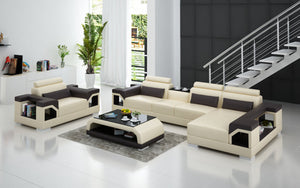 Talos Small Modern Leather Sectional with Armrest Chair