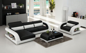 Monte Mini Modern Leather Sectional with Chaise