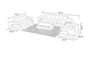 Elza Modern Leather Sofa Set