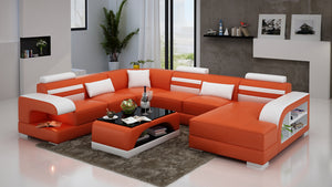 Eleese  Modern U-Shape Leather Sectional