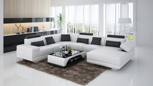 Gileanas Modern U-Shape Leather Sectional