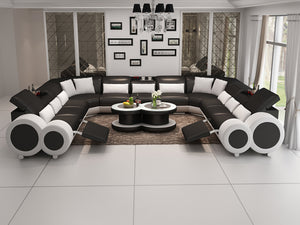 Aetius XL Modern U-Shape Leather Sectional with Recliner
