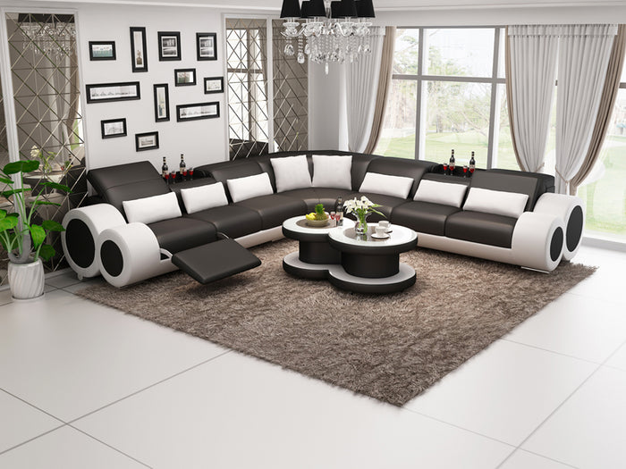 Aetius XL Modern Leather Sectional with Recliner