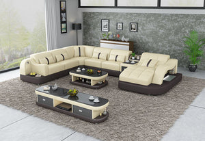 Murad Modern Leather Sectional With Shape Chaise