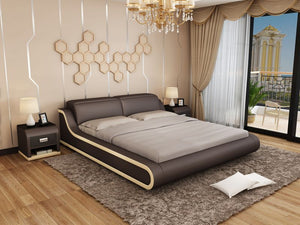 Dark Brown Leather Bed