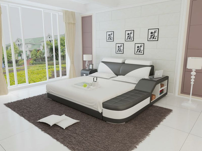 Indira Leather Bed With Storage