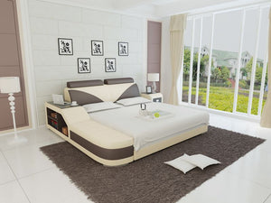 Dark Brown And Beige Bed