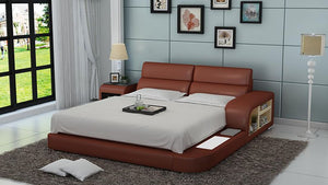 Jodi Leather Bed With Storage - Jubilee Home Furniture
