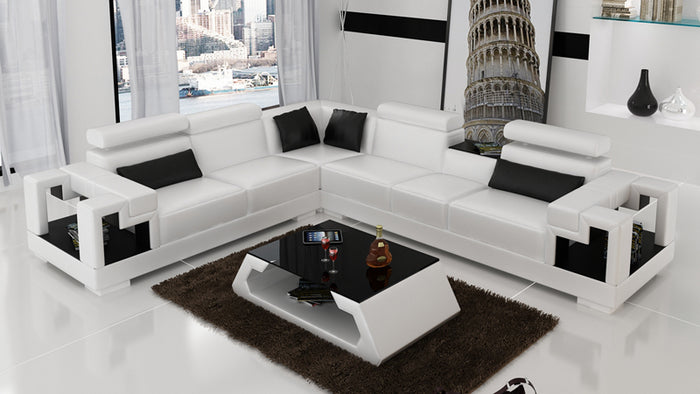 Uri Modern Leather Sectional