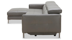 Leather Recliner Sectional With Adjustable Headrest