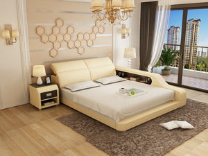 Beige Leather Bed