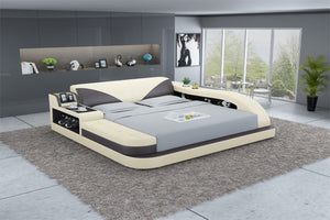 Plaff Leather Bed With Storage