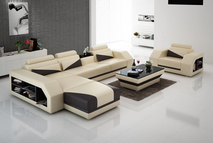 Landy Leather Sectional With Adjustable Headrest