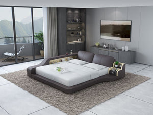 Mcguire Leather Bed With Storage - Jubilee Home Furniture