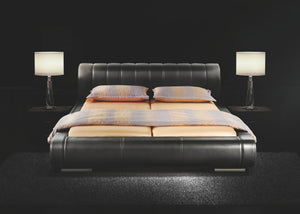 Faruk Black Leather Bed