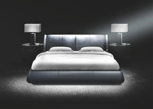 Wing Dark Grey Leather Bed