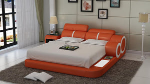 Soleia Leather Bed With Adjustable Headrest - Jubilee Home Furniture