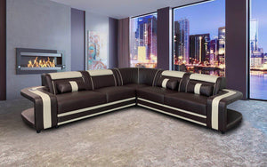 [Sold Out] Norma Beige & Dark Brown Modern Leather Sectional