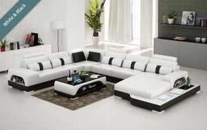 Mequon Large Leather Sectional with LED Lights