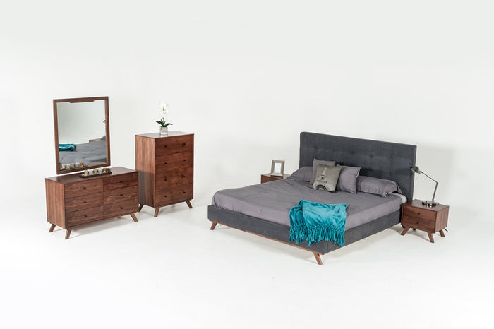Astima Modern Grey & Walnut Bedroom Set