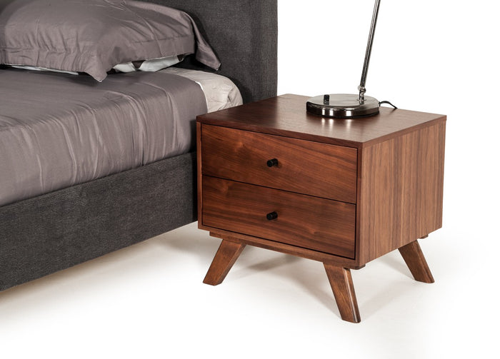 Astima Modern Grey & Walnut Nightstand