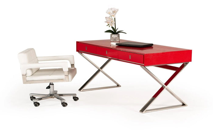 County Transitional Red Crocodile Desk