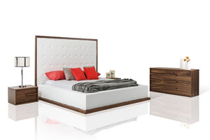 Bitio Modern Walnut with White Leatherette Bedroom Set