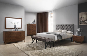 Garner Modern Grey & Walnut Bed