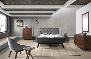 Garner Modern Grey & Walnut Bedroom Set