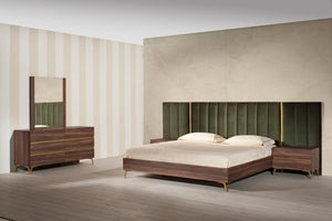 Camlo Modern Walnut & Green Velvet Bedroom Set