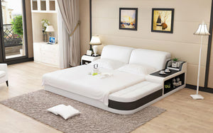 Casun Leather Bed With Storage