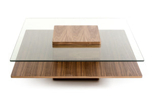 Codi Modern Walnut and Glass Coffee Table