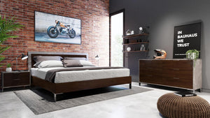 Camona Modern Dark Walnut & Faux Concrete Bed