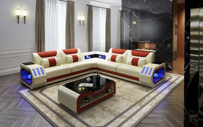 Grantville Leather Sectional With LED Lights
