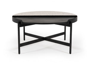 Gummy White Terrazzo Concrete & Black Metal Coffee  Table