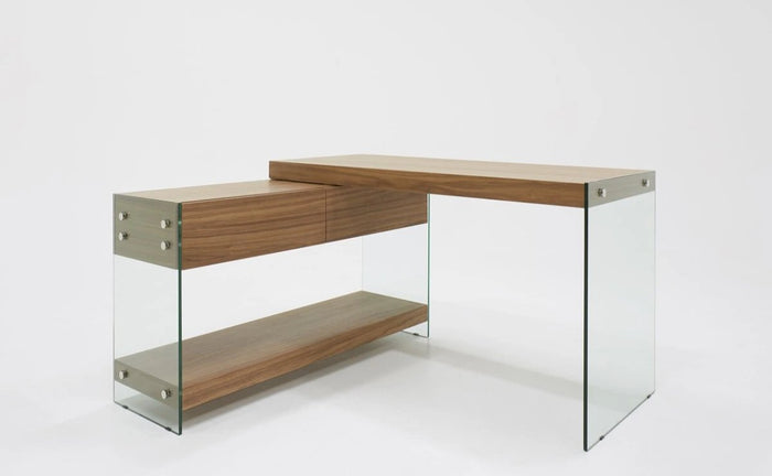 Lucop Modern Walnut & Glass Desk