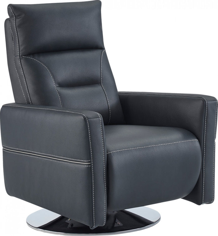 Nopin Modern Blue Leatherette Recliner Chair