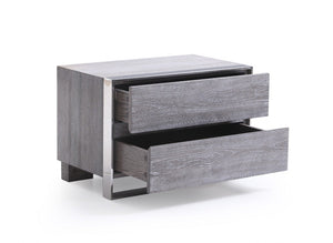 Adele Modern Grey & Stainless Steel Bedroom Set